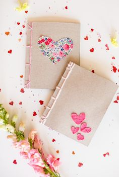 lovely handmade heart notebooks with japanese book bindings.