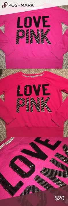New VS Listing✨ LOVE PINK CREWNECK Pics are with and without flash to help better understand the color of the sweatshirt , super cute! Pre-loved, no stains, some sequins are missing PINK Victoria's Secret Sweaters Crew & Scoop Necks