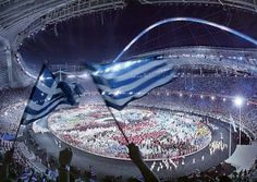 Opening Ceremony of the 2004 Athens Olympic Games Olympic Venues, Olympic Team, Olympic Games, 2004 Olympics, Summer Olympics, Classical Athens, Greek Flag, Olympics Opening Ceremony, Major Events