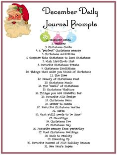 December Daily Journal Prompts …