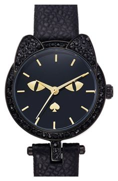 kate spade new york cat dial leather strap watch, 26mm available at #Nordstrom NEED THIS WATCH IN MY LIFE