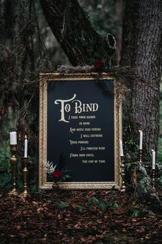 """black wedding Decorations - These Halloween Wedding Ideas Give New Meaning to """"'Til Death Do Us Part"""" Wedding Ceremony Ideas, Wedding Signs, Wedding Events, Wedding Hacks, Wedding Reception, Wedding Ceremonies, Wedding Seating, Forest Wedding, Fall Wedding"""