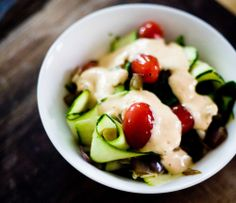Simple Zucchini Salad with Sweet and Creamy Red Pepper Dressing Recipe - Greener Ideal