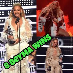8 Wins! Queen #Beyonce leads this years MTV #VMAs with the most wins from her 11 nominations. This means #Bey now holds the most MTV Awards of all time overtaking #Madonna's title!  Video of the Year: Adele  Hello Beyoncé  Formation  WINNER Drake  Hotline Bling Justin Bieber  Sorry Kanye West  Famous  Best Female Video: Adele  Hello Beyoncé  Hold Up  WINNER Sia  Cheap Thrills Ariana Grande  Into You Rihanna ft. Drake  Work (short version) Best Pop Video:  Adele  Hello Beyoncé  Formation…