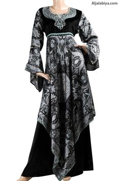 Sedricka Satin patterned kaftan with velvet embroidery (N-13269-1) $164.00