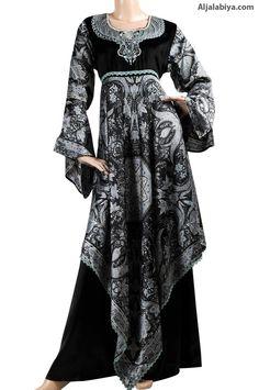 Sedricka Satin patterned kaftan with velvet embroidery (N-13269-1) $164.00
