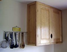 English ash solid wooded top cupboards with traditional brass butt hinges, bespoke kitchens Bristol