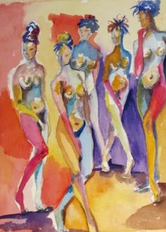 Abstract Watercolor Paintings | Abstract Nudes watercolor, painting by Delilah Smith
