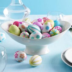 Pretty glitter adorned eggs make a simple but fun #Easter centerpiece. See more ideas for decorating with #Easter eggs: http://www.bhg.com/holidays/easter/decorating/decorate-with-easter-eggs/?socsrc=bhgpin021113glittereggs=17
