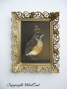 'THE LITTLE PRINCE'. Baby Bird painting  original baby crown Robin art WITH vintage frame by 4WitsEnd, via Etsy.  SOLD