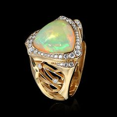 Mousson Atelier Opal, Diamond and Gold Ring #opalaustralia