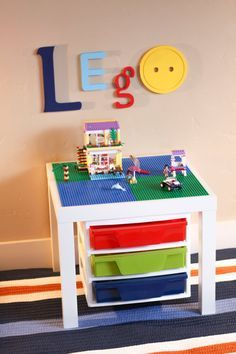Let your childs LEGO® imagination soar! This LEGO® table from LegoBuilders will help take their creative city-building skills to new heights! Lego Design, Lego Bedroom, Kids Bedroom, Boy Bedrooms, Legos, Construction Area, Lego Storage, Lego Table With Storage, Ikea Storage