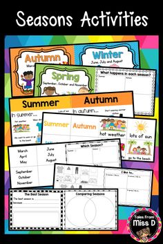 Teach your students about Seasons with this pack. There are TWO versions in this pack - Seasons for Australia and Seasons for The US. Included in both Seasons versions;  1) Season Posters 2) What happens in each season brainstorm page 3) What happens in each season stimulus posters 4) Seasons sort 5) I like to… Writing/Drawing prompt 6) Season ordering 7) Best Season writing prompt 8) Comparing Seasons organiser 9) Season flow chart © Tales From Miss D