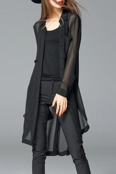 See-Through Asymmetrical Chiffon Blouse