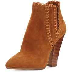 Michael Kors Collection Channing Whipstitch Suede Bootie ($575) ❤ liked on Polyvore featuring shoes, boots, ankle booties, dark luggage, suede high heel boots, suede ankle booties, pointy toe ankle boots, short boots and michael kors bootie