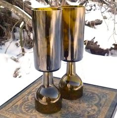 Upcycled Wine Bottle Candle Holders Set Of Two by elihunt on Etsy, $33.00