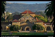~~Memorial Church, main Quad, and foothills. Stanford University, California, USA (color)