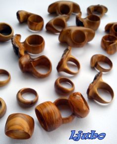 handmade olive wood rings