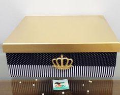 Coleção Realeza - Caixa Decorada Marinho Diy Box, Decorative Boxes, Scrap, Baby Boy, Shower, Boutique, Black And White, Kit Bebe, Creative