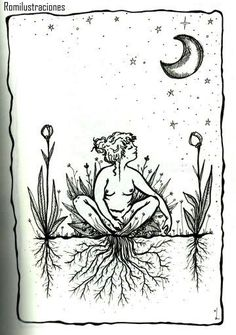 Witchy artwork of grounding or rooting to the earth