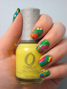 China Glaze Strong Adhesive Base, Nicole by OPI One time Lime (base). China Glaze - White on White (base for flowers). Zoya-Robyn (Blue Flowers, dots), Orly-Spark (Yellow Flowers, dots), OPI-Im Indi-A Mood For Love (Pink Flowers, dots), Illamasqua-Gamma (Orange Flowers, dots), Zoya-Perrie (Purple Flowers, dots) and top coat