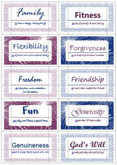 100 Value Cards (F-G) inspired from Motivational Interviewing. Print out on Avery business cards and use with clients to help them define and prioritize their values.