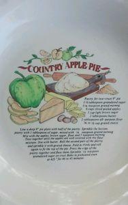 """""""Country Apple Pie"""" Recipe 10"""" Pie Plate Dish"""