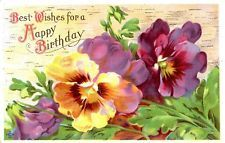 Antique happy birthday wishes series 235 P Pansy flower postcard