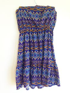 Navy Blue & Print Dress from Forever21  Size SM