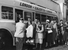 Long haul: these passengers at Victoria Coach Station, London, were boarding the first run of the worlds longest coach route, between London and Calcutta, in April 1957. The journey to Calcutta took five days and the single fare was £85. Passengers on the first journey included two ex-firemen emigrating to Australia, as well as Indians and Australians returning home.