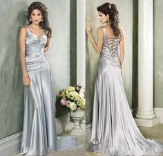 2015 Sexy Silver Evening Dresses Satin V Neck Bodice Vestido De Festa Formal Dress Back Bare Long Mother Of Bridal Dinner Gowns