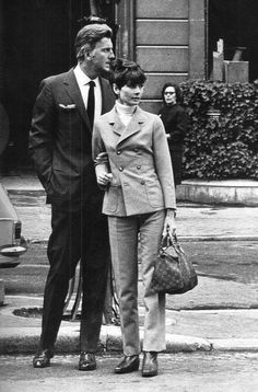 """• Audrey Hepburn photographed with her beloved Hubert de Givenchy after a lunch in Paris (France), in April 1967. Handbag: Louis Vuitton (Henri-Louis Vuitton created this model called """"Speedy 25""""..."""