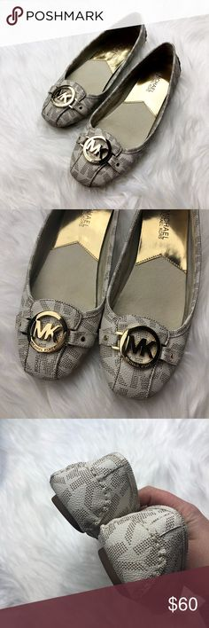 Michael Kors White Monogram Fulton Flats So cute and perfect for everyday! Excellent pre owned condition, almost like new! Size 7.5. White monogram. No trades!! 01518150 MICHAEL Michael Kors Shoes Flats & Loafers