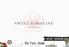 Instant Download Logo Photoshop Logo Watercolor Floral Logo for e-commerce website logo, wordpress blog logo, boutique logo, photography branding, wedding logo, website branding design.