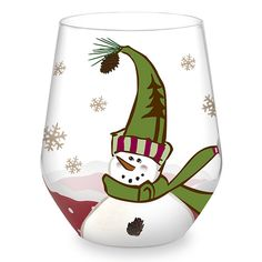 """christmas glass painting designs   Stemless Wine Glass: Frosty Snowman """"Cheers"""""""