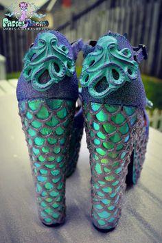 mermaid scales heels seashells custom made by PastelDreamShoes