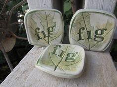 Three Fig Leaf Tea Bag Holders by JerusalemTile on Etsy, $15.00