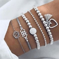 Style Boho Bangle Elephant Heart Shell Star Moon Bow Map Crystal Bead Bracelet - Trendy Outfits for summer online shopping - Frauenschmuck Wedding Jewelry And Accessories, Women's Accessories, Tassel Bracelet, Bracelet Set, Bangle Bracelets, Pearl Bracelet, Silver Bracelets, Stacking Bracelets, Unique Bracelets