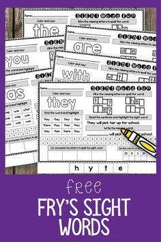 Are you looking for some fun worksheets to give your first grade students practice with Fry's sight words? These free printables are perfect for a kindergarten or first grade classroom. Each page has several activities for your students to complete. Fry Sight Words, Teaching Sight Words, Sight Word Practice, Sight Word Activities, Reading Activities, Sight Word Centers, Reading Resources, Educational Activities, Teacher Resources