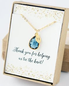 Sapphire Blue Bridesmaid Necklace Initial Charm by LimonBijoux