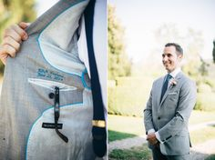 Groom wears a bespoke grey suit from Alton Lane | Photography by http://www.lisapoggi.com/