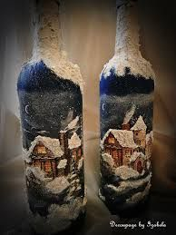 Σχετική εικόνα Painted Wine Bottles, Lighted Wine Bottles, Bottle Lights, Glass Jars, Bottle Painting, Bottle Art, 1st Christmas, Vintage Christmas, Christmas Centerpieces