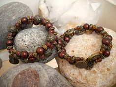 Antique Brass Chocolate Brown and Amber Beaded by Beads4You2008,