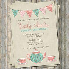 Tea Party Birthday Invitation Time for tea by freshlysqueezedcards, $13.00