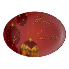 Red Merry Christmas Porcelain Serving Platter