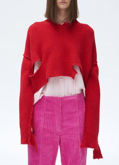 V-Neck Cropped Sweater in 'Ripped' Shetland - Céline