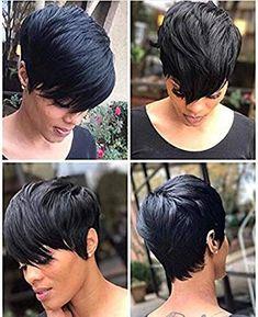Amazing offer on RUISENNNA Short Hair Wigs Boy Cut Human Hair Short Pixie Wigs Straight Short Black Wigs Black Women online - Chictopclothing - New Ideas Pixie Bob, Short Pixie Wigs, Short Pixie Haircuts, Short Black Hairstyles, Pixie Hairstyles, Layered Hairstyles, Black Pixie Haircut, Sassy Haircuts, Hairdos