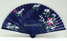Cloth fabric Japanese hand fan folding fan by HaveItFancyWorld
