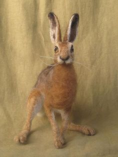 Needle Felted Hare made to order wildlife soft by Ainigmati