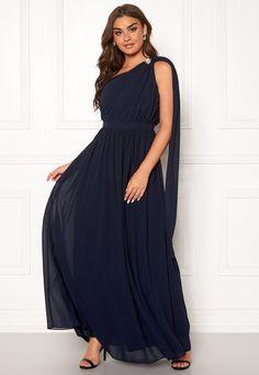 Kjole, Lang blå kjole, elastisk – dba.dk – Køb og Salg af
